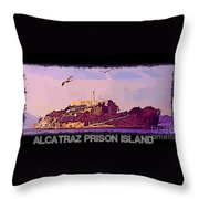 Alcatraz Prison Poster Throw Pillow