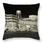 Alcatraz The Rock Sepia 1 Throw Pillow