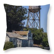 Alcatraz Water Tower Throw Pillow by John McGraw