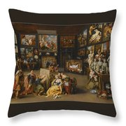 Alexander The Great Visiting The Studio Of Apelles Throw Pillow
