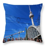 Alexanderplatz Sign And Television Tower Berlin Germany Throw Pillow