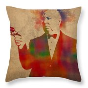 Alfred Hitchcock Watercolor Portrait On Worn Parchment Throw Pillow