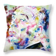 Alfred Hitchcock Watercolor Portrait.1 Throw Pillow