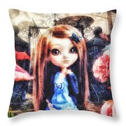 Alice In Wonderland Throw Pillow by Mo T