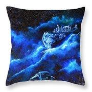 Alien Asteroid Mine Throw Pillow