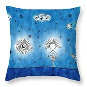 Alien Blue Throw Pillow
