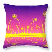 Alien Fire Flowers Throw Pillow