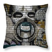 Alien Graffiti Throw Pillow
