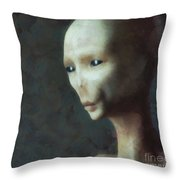 Alien Grey Thoughtful  Throw Pillow
