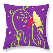Alien Ice Cream -vector Version Throw Pillow