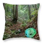 Alien In Redwood Forest Throw Pillow