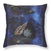 Alien Space Factory Throw Pillow by Murphy Elliott
