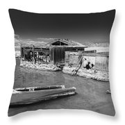 All Aboard Black And White Throw Pillow