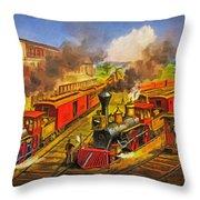 All Aboard The Lightning Express 1874 Throw Pillow