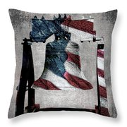 All American Liberty Bell Art_denim Throw Pillow