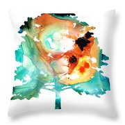 All Seasons Tree 1 - Colorful Landscape Print Throw Pillow by Sharon Cummings