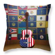 All State Flags Throw Pillow by Bedros Awak