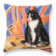 All That Jazz Cat Throw Pillow