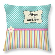 All You Need Is Love In Teal Throw Pillow