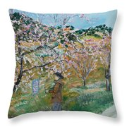 Allee Des Amandiers. Throw Pillow