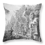 Allegorical Frontispiece Of Rome And Its History From Le Antichita Romane  Throw Pillow by Giovanni Battista Piranesi
