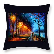 Alley By The Lake 2 - Palette Knife Oil Painting On Canvas By Leonid Afremov Throw Pillow