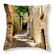Alley In Eze, France Throw Pillow