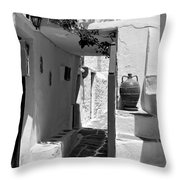 Alley In Kastro Village Throw Pillow