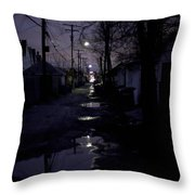 Alley Night Throw Pillow