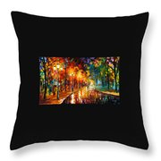 Alley Of The Memories - Palette Knife Oil Painting On Canvas By Leonid Afremov Throw Pillow