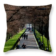 Alley Of Trees With Runners And Joggers Throw Pillow
