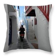 Alley Way In Mykonos Throw Pillow