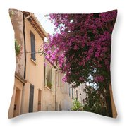 Alley With Bougainvillea - Provence Throw Pillow