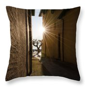 Alley With Sunbeam Throw Pillow
