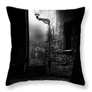 Alley Of Prague In Black And White Throw Pillow
