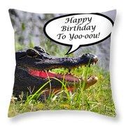 Alligator Birthday Card Throw Pillow