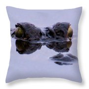 Alligator Eyes On The Foggy Lake Throw Pillow