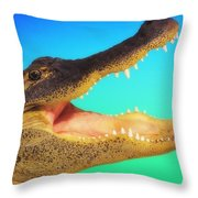 Alligator Head With Open Mouth Throw Pillow
