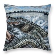 Alligator Hunt Throw Pillow
