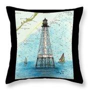 Alligator Reef Lighthouse Fl Keys Nautical Map Cathy Peek Throw Pillow