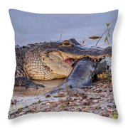 Alligator With A Fish Throw Pillow