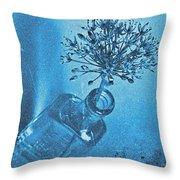 Allium Cyanotype Throw Pillow