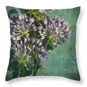 Allium Wildflower With Grunge Textures Throw Pillow