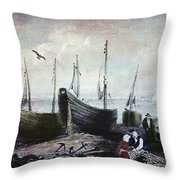 Allonby - Fishing Village 1840s Throw Pillow