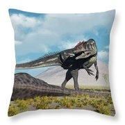 Allosaurus Dinosaurs Approaching Throw Pillow