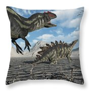 Allosaurus Dinosaurs Moving In To Kill Throw Pillow