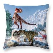 Allosaurus Pack Throw Pillow
