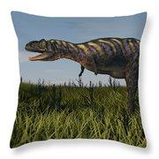 Alluring Aucasaurus In Grassland Throw Pillow