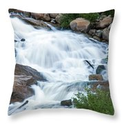 Alluvial Fan Falls On Roaring River In Rocky Mountain National Park Throw Pillow