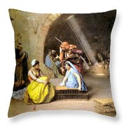 Almehs Playing Chess In  A Cafe Throw Pillow by Jean Leon Gerome